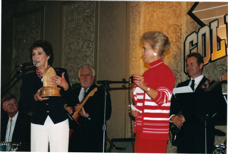 Weldon, Jimmy Capps & Charles Lilly pickin\' while Jan Howard accepted an award from Goldie Hill.jpg